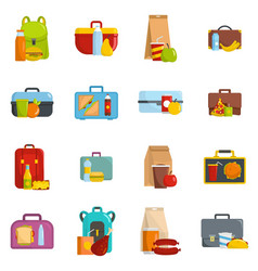 lunchbox food icons set isolated vector image