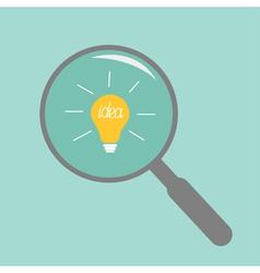 Magnifier and light bulb Idea concept Flat design vector image