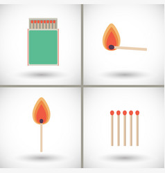Match sticks and box set flat vector