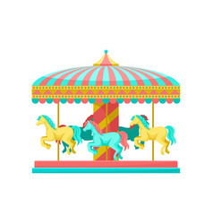 merry go round carousel with horses amusement vector image