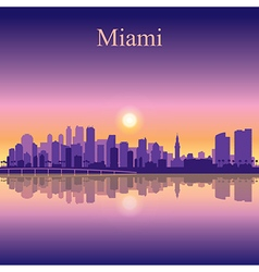 Miami city skyline silhouette background vector image