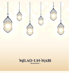 Milad un nabi card with lamps decoration design vector