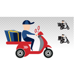 Motorcycle delivery package fast shipping flat vector