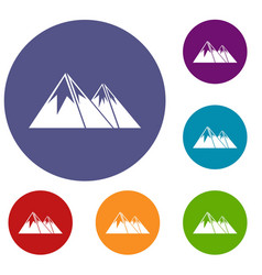 mountains with snow icons set vector image