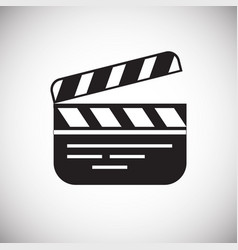 Movie clap board icon on white background for vector