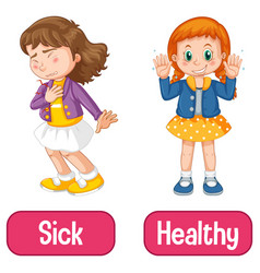 Opposite adjectives words with sick and healthy vector