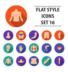 part of body set icons in flat style big vector image