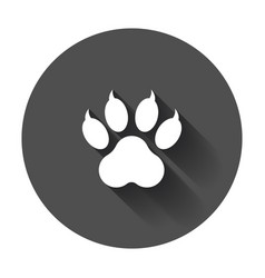 paw print icon dog cat bear paw symbol flat vector image
