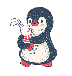 Penguin with a toy bunny vector