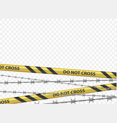 police warning tape and a metal barbed wire vector image