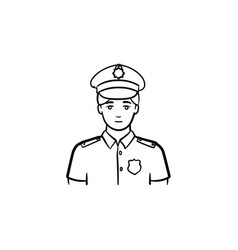 Policeman hand drawn outline doodle icon vector