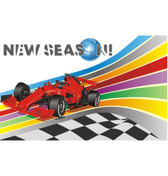 Racing car on background track vector