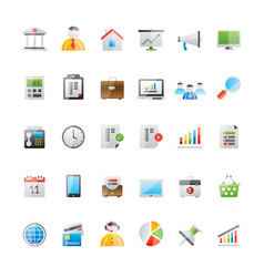 realistic business office and finance icons 1 vector image