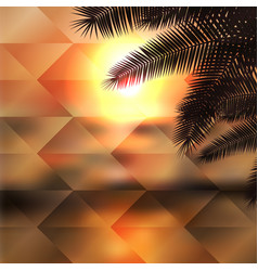 Sea sunset with palmtree geometric background vector