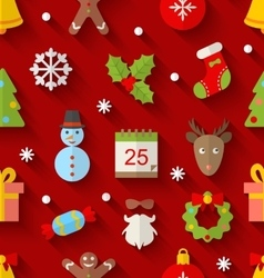 Seamless Pattern with Christmas Colorful Objects vector image