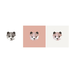 set colored polygonal panda portrait bear vector image