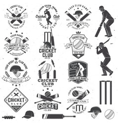 set cricket club badges with design element vector image