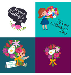 Set of happy mothers day cards with greeting text vector