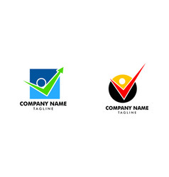 set people check logo template design vector image