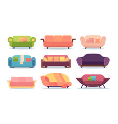 sofas collection comfortable soft home furniture vector image