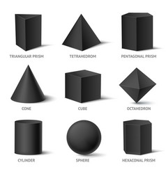 Solid geometric shapes set vector