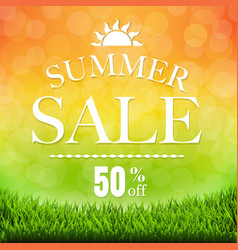 Summer sale banner with grass border vector
