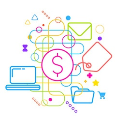 Symbols of purchasing via the Internet on abstract vector image