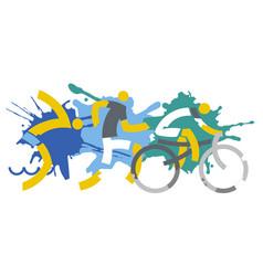 three triathlon racers on splatters background vector image