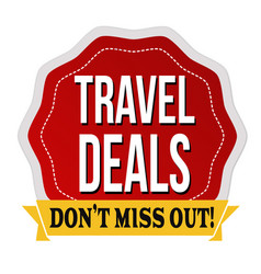 Travel deals label or sticker vector