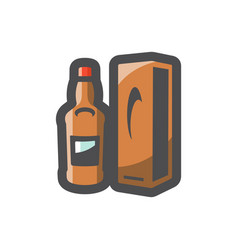 whiskey bottle and box icon cartoon vector image