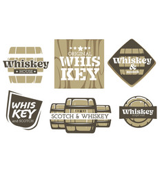whiskey drink isolated icons factory or alcohol vector image