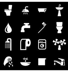 White bathroom icon set vector