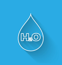 White water drop with h2o icon isolated with long vector