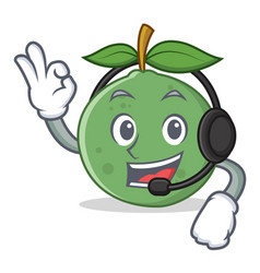 With headphone guava mascot cartoon style vector