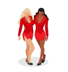 Women in red dress Sexy busty two women with vector image