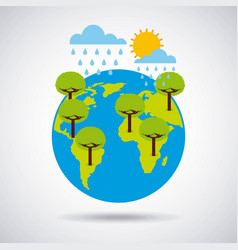 World earth trees rains and summer time vector