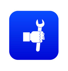 wrench tool in man hand icon digital blue vector image