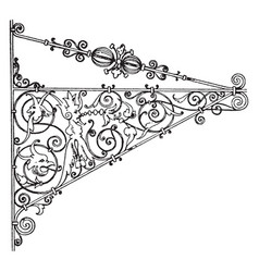 wrought-iron bracket natural iron finish vintage vector image