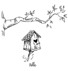 Birdhouse and the tree branch vector image