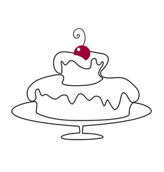 birthday cake drawing vector image