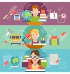 Flat education student pupil kid teacher people vector image vector image