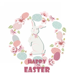 Happy Easter card with cute rabbit vector image vector image