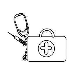 silhouette suitcase health with stethoscope and vector image vector image