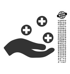 hand offer medicine icon with work bonus vector image vector image