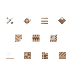 Linoleum brown flat style icons set vector image vector image