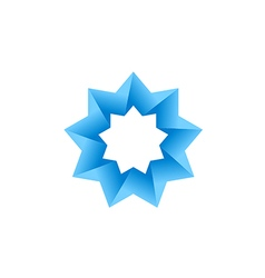 abstract blue star 3D logo vector image vector image