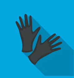 Black protective rubber gloves icon flate single vector