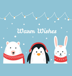 cute woodland animals warm wishes christmas and vector image vector image