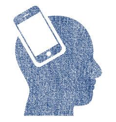 Smartphone head integration fabric textured icon vector
