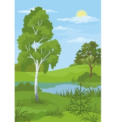 Summer landscape with trees and river vector image vector image